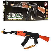 Детский игровой автомат с пульками АК-47: 63см, пули + шнурок (звук, свет)