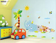 Интерьерная наклейка на стену Веселый Зоопарк (ay639)