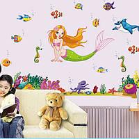 Интерьерная наклейка на стену Русалочка и друзья (140х95см)