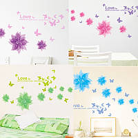 Интерьерная наклейка на стену Цветы и бабочки  (AM001)
