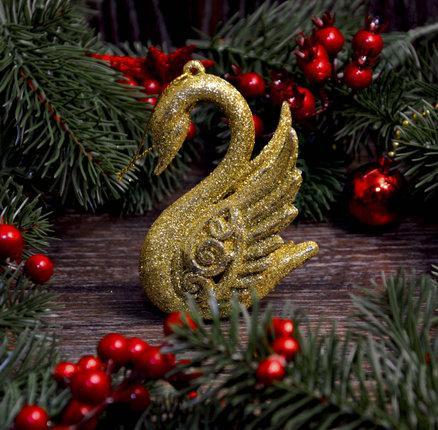 Новогоднее украшение Лебедь золото 0343
