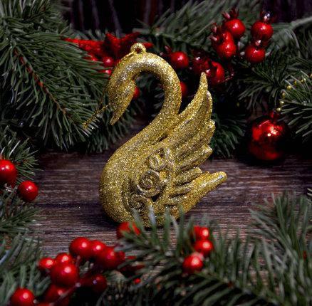 Новогоднее украшение Лебедь золото 0343, фото 2