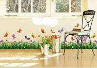 Интерьерная наклейка на стену  Цветы и бабочки (AY701)