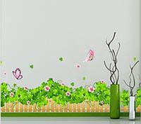 Интерьерная наклейка на стену  Забор и цветы (AY7056)