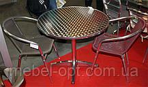 Стол ALT-8010 алюминиевый круглая столешница из полированной нержавеющей стали для летних открытых площадок , фото 2
