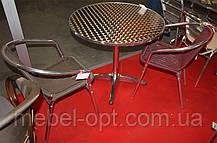 Стол ALT-8010 алюминиевый круглая столешница из полированной нержавеющей стали для летних открытых площадок , фото 3