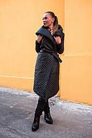 Женское длинное тёплое пальто на синтепоне