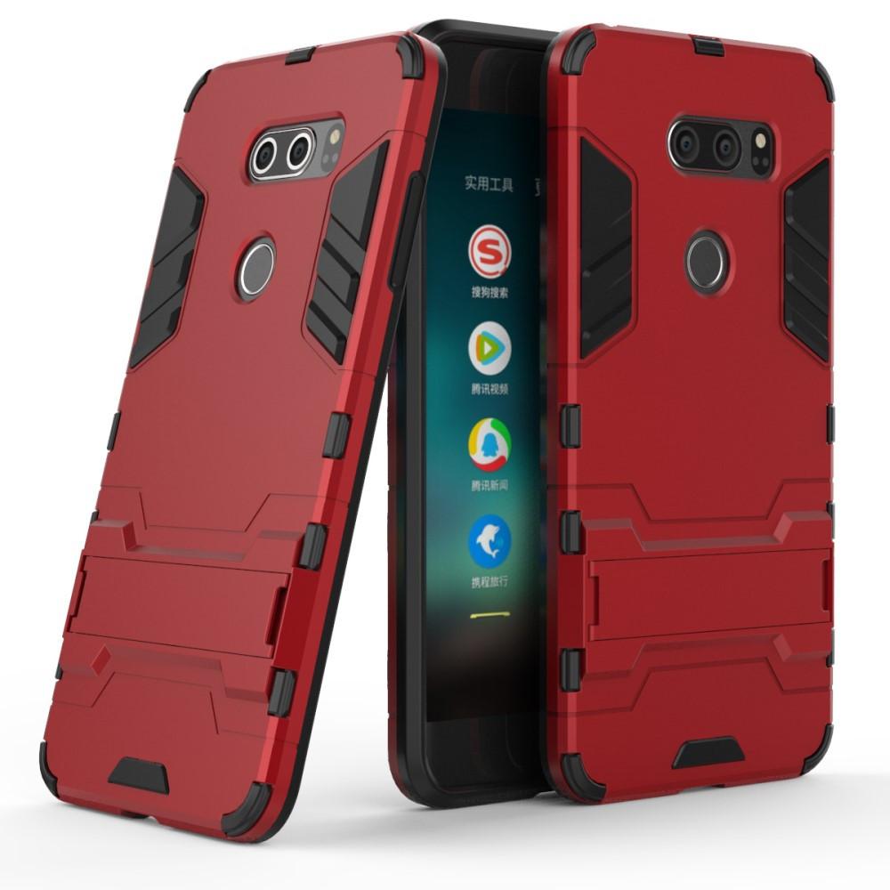 Чехол накладка для LG V30 H930 противоударный силиконовый с пластиком, Alien, красный