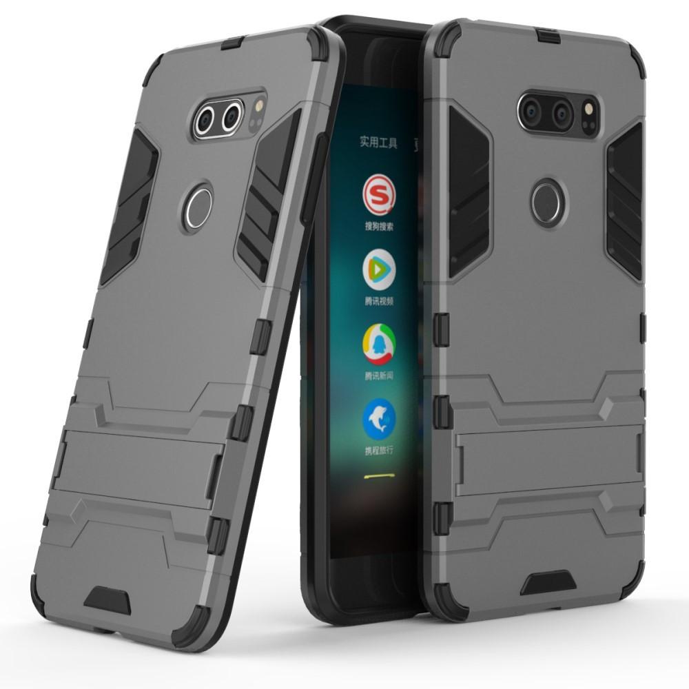 Чехол накладка для LG V30 H930 противоударный силиконовый с пластиком, Alien, серый