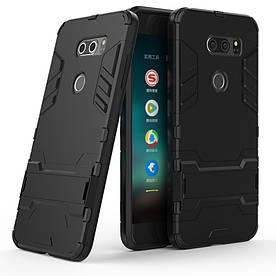 Чехол накладка для LG V30 H930 противоударный силиконовый с пластиком, Alien, черный