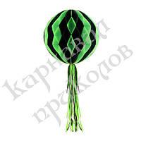 Бумажный шар соты Хэллоуин (30см) черный с зеленым