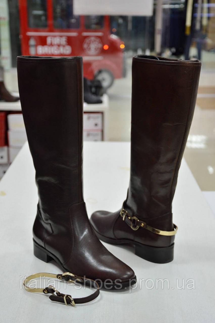 Сапоги темно-коричневые кожаные со съемным ремешком Diffusione к.-505