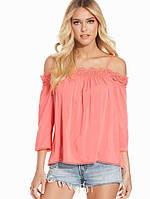 Блуза с открытыми плечами и кружевом New Look