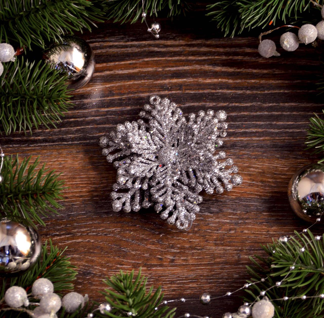 Новогоднее украшение Цветок новый объемный  серебро   0320