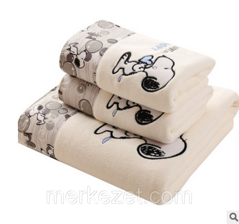 """Набор полотенец микрофибра. Банное и лицевое полотенце """"I love Snoopy"""". Полотенце для бани и лица"""