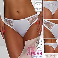 Трусы женские Kris Line™. Трусики-бразилиана белые с вышивкой. Польское нижнее белье Крис Лайн