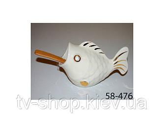 """Банка для соли """"Золотая рыбка"""" с деревяной ложкой, 13х8 см"""