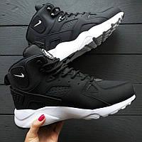 Зимние кроссовки мужские Huarache Winter Shoes Black/White мех