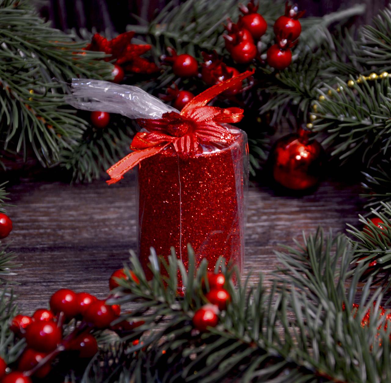 Новогодняя свеча с присыпкой 0527