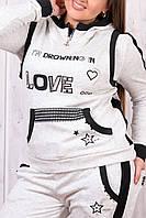 Зимний спортивный костюм женский тройка с жилеткой батальный пр-во Турция со стразами № 8867 молочный, фото 1
