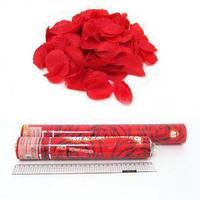 Хлопушка  30 см, наполнитель искуственные лепестки роз красные