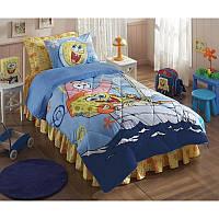 Покрывало хлопковое подростковое Tac Disney 160х200 - Sponge Bob Boat