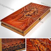 Дизайнерские нарды из дерева с резным рисунком «Дева»