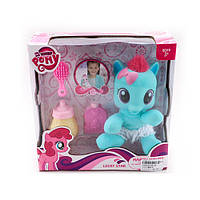 Игрушка лошадка My Little Pony мягконабивная, 17см,бутылочка,флакон,расческа, в коробке