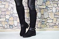 Зимние высокие сапоги с шипами Losk цвет-Черный, материал-иск.замша,