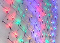 Гирлянда ламповая Сетка 144 ламп (LED) чёрный провод, микс