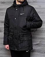 Парка чёрная зима | Куртка Nike лого вышивка