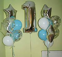 Оформление 2 Фонтана из 8-ми гелиевых шаров с цифрой на выбор