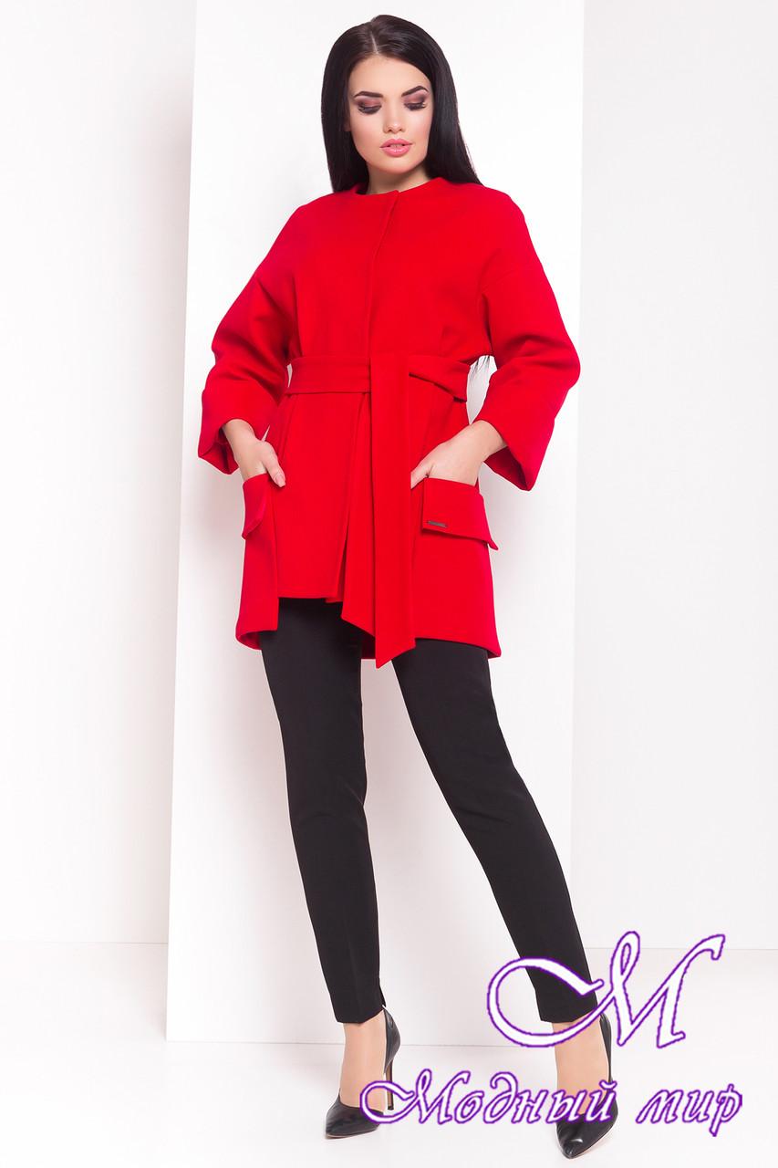 Женское осеннее кашемировое пальто красного цвета (р. S, M, L) арт. Кадис Турция 18146
