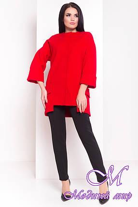 Женское осеннее кашемировое пальто красного цвета (р. S, M, L) арт. Кадис Турция 18146, фото 2