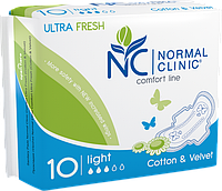 Normal Clinic Comfort ultra fresh Крит. прокладки cotton&velvet - 3 капли, 240 мм.