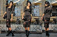 """Платье """"Шик"""", коктейльное черное платье длины миди., фото 1"""