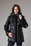 Полушубок-куртка с капюшоном из нутрии 80 см