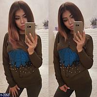 Женский коричневый свитер с рисунком и бусинками. Арт-12309