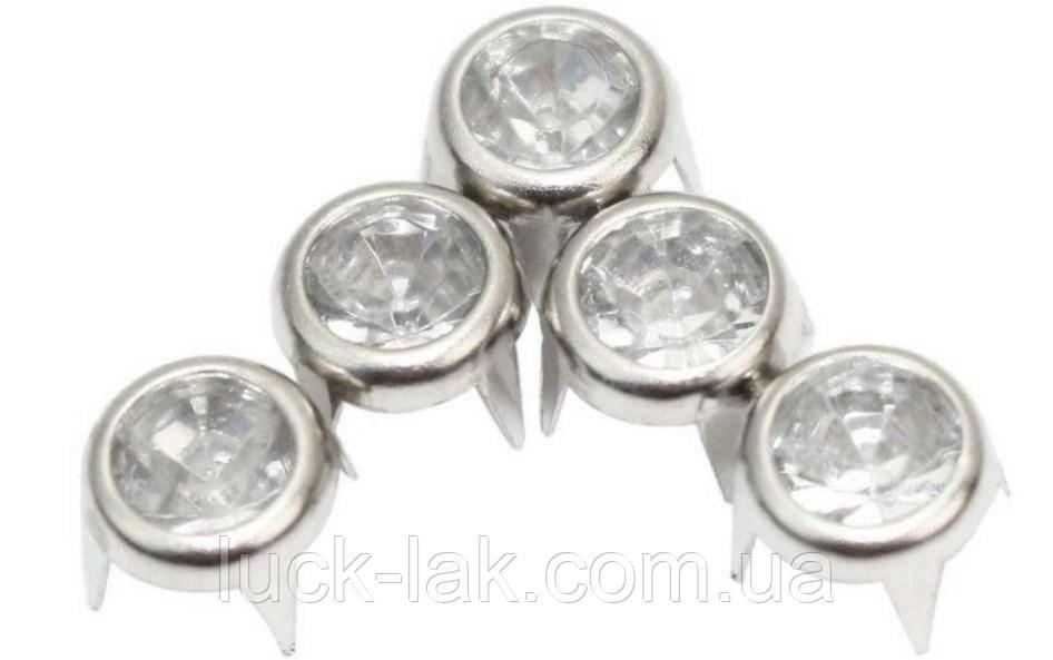 Заклепки, крабики с кристаллом 8 мм