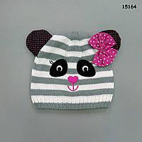 """Шапка """"Панда"""" на флисовой подкладке для девочки. 42-48 см"""