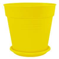 Горшок цветочный Алеана Глория с подставкой 18.5x18 см темно-жовтий