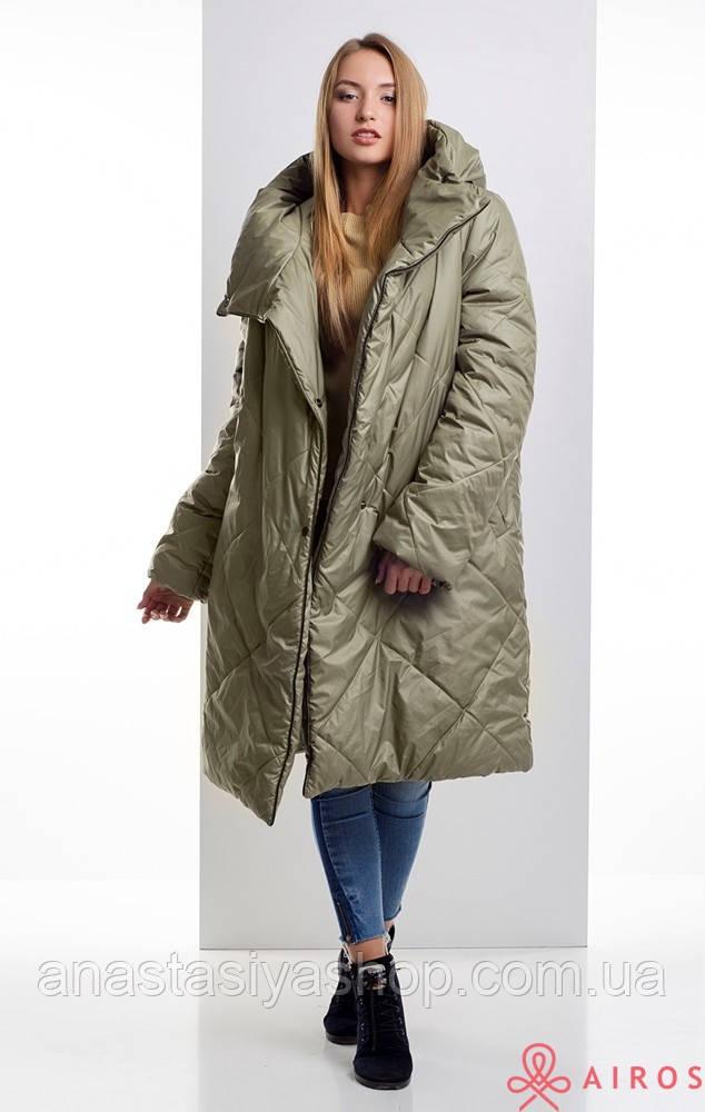 Женское зимнее пальто oversize, облегченное