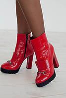 Ботинки женские на каблуке зимние 1717 лак/цигейка