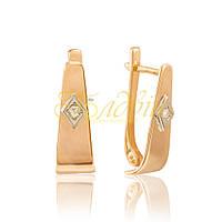 Золотые серьги с фианитами.П20054