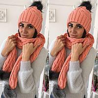 Шапка женская (+шарф в комплекте) мод.8818