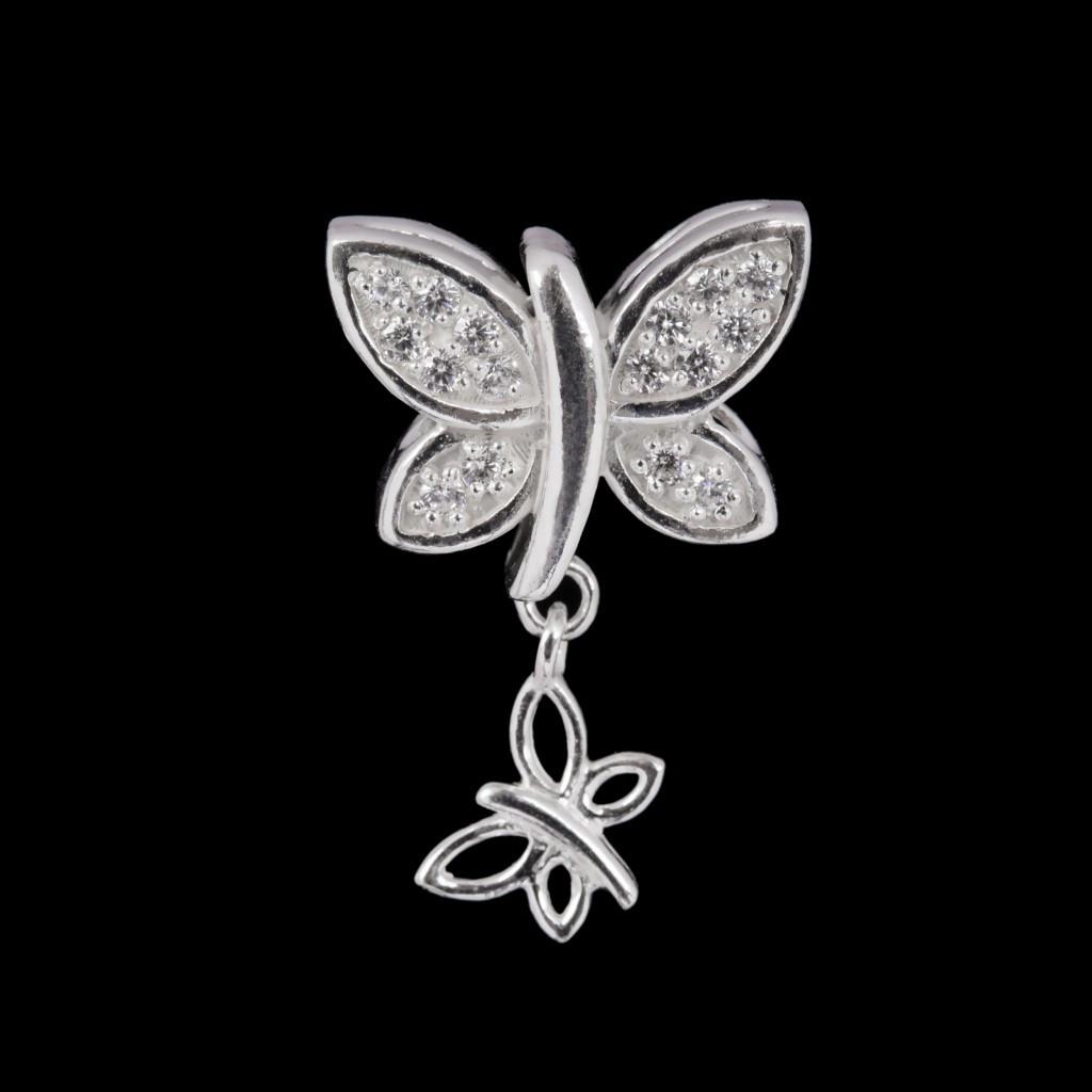 Серебряный шарм стоппер Пандора Бабочка
