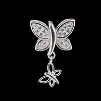 Серебряный шарм стоппер Пандора Бабочка , фото 1