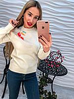Женский стильный свитер украшен цветной паеткой (3 цвета)