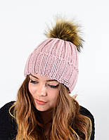 """Женская шапка с помпоном """"3301"""" пудра"""