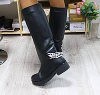 Зимние и демисезонные натуральные кожаные сапоги без замка цвет : черный
